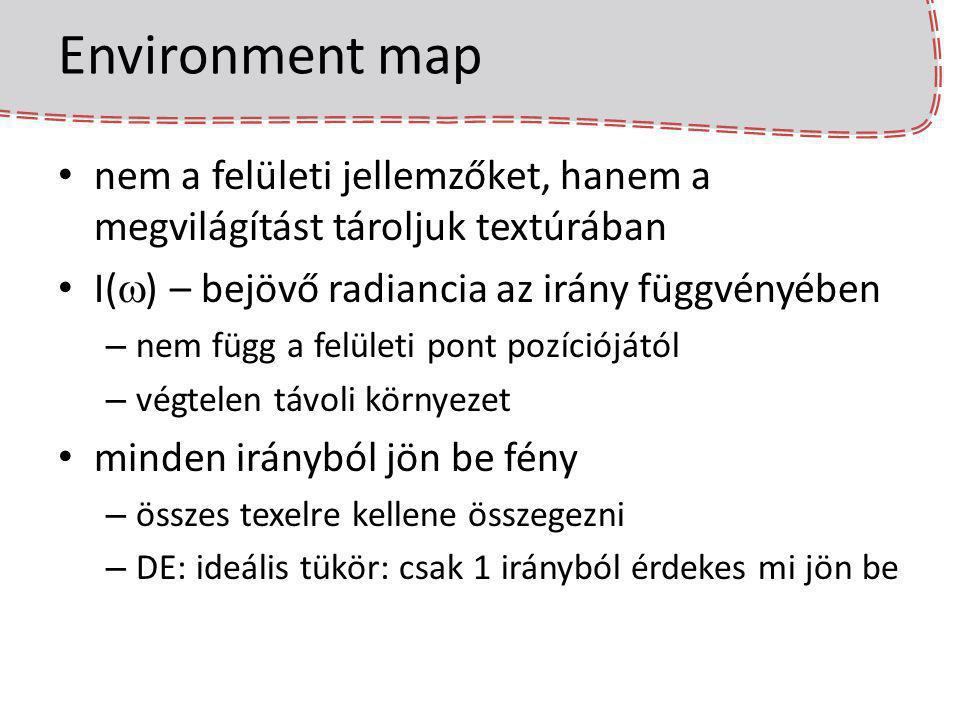 Environment map nem a felületi jellemzőket, hanem a megvilágítást tároljuk textúrában I(  ) – bejövő radiancia az irány függvényében – nem függ a felületi pont pozíciójától – végtelen távoli környezet minden irányból jön be fény – összes texelre kellene összegezni – DE: ideális tükör: csak 1 irányból érdekes mi jön be