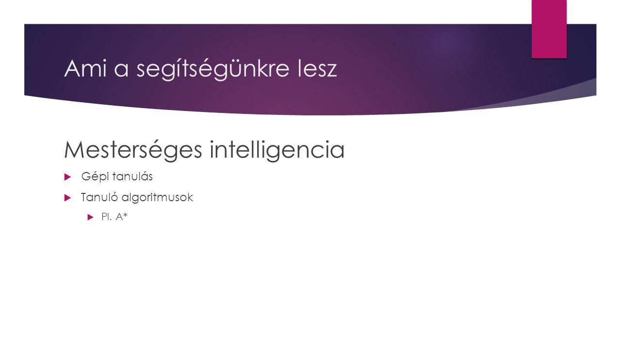 Ami a segítségünkre lesz Mesterséges intelligencia  Gépi tanulás  Tanuló algoritmusok  Pl. A*