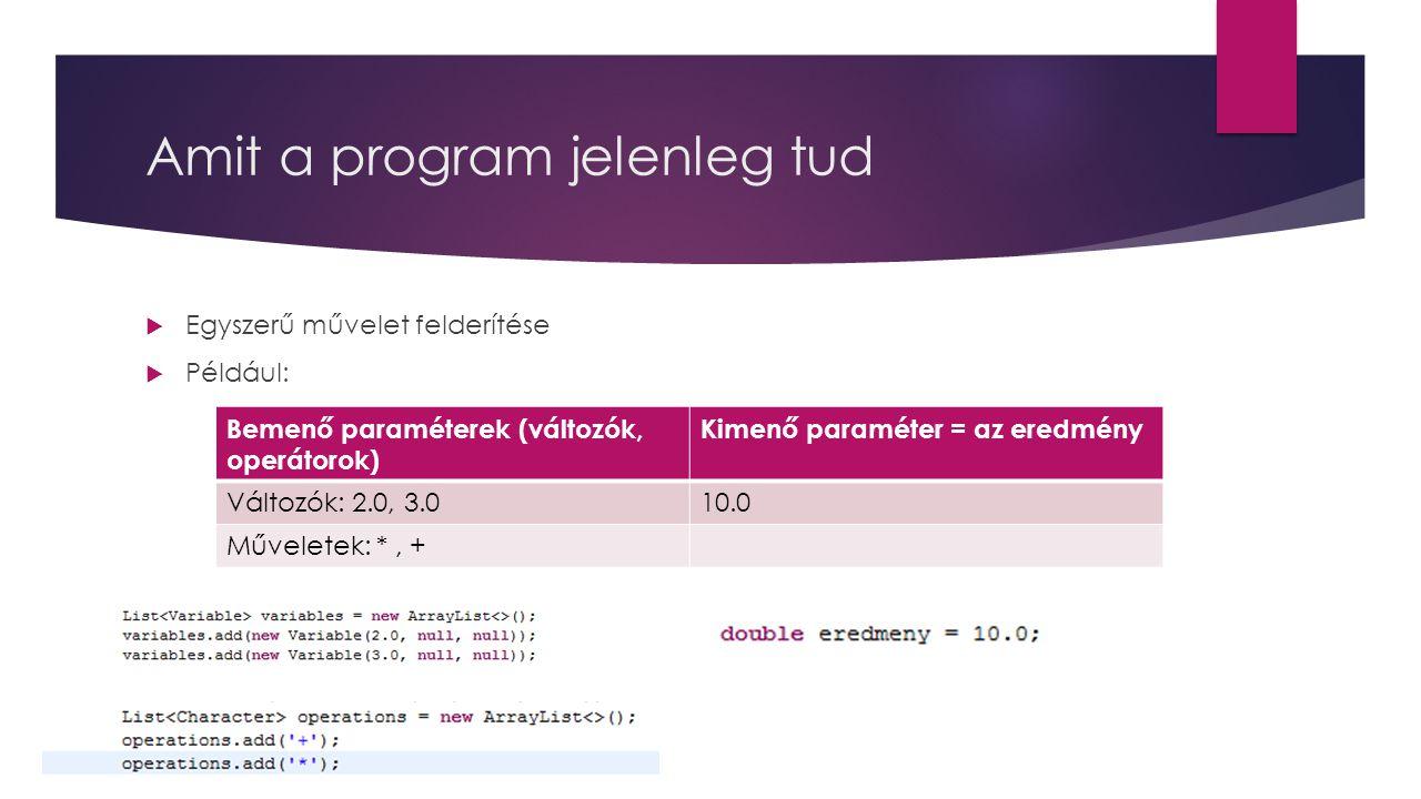 Amit a program jelenleg tud  Egyszerű művelet felderítése  Például: Bemenő paraméterek (változók, operátorok) Kimenő paraméter = az eredmény Változó