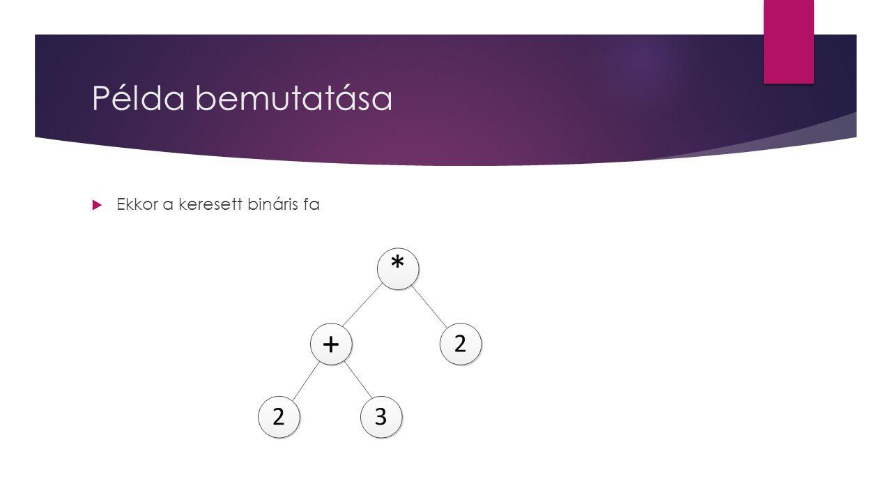 Példa bemutatása  Ekkor a keresett bináris fa
