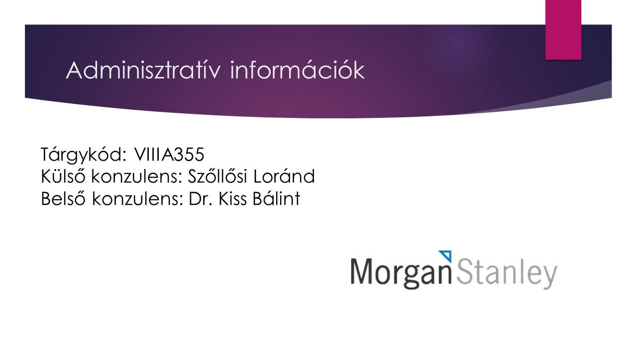 Adminisztratív információk Tárgykód: VIIIA355 Külső konzulens: Szőllősi Loránd Belső konzulens: Dr. Kiss Bálint