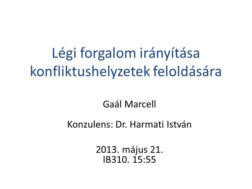 Légi forgalom irányítása konfliktushelyzetek feloldására Gaál Marcell Konzulens: Dr. Harmati István 2013. május 21. IB310. 15:55
