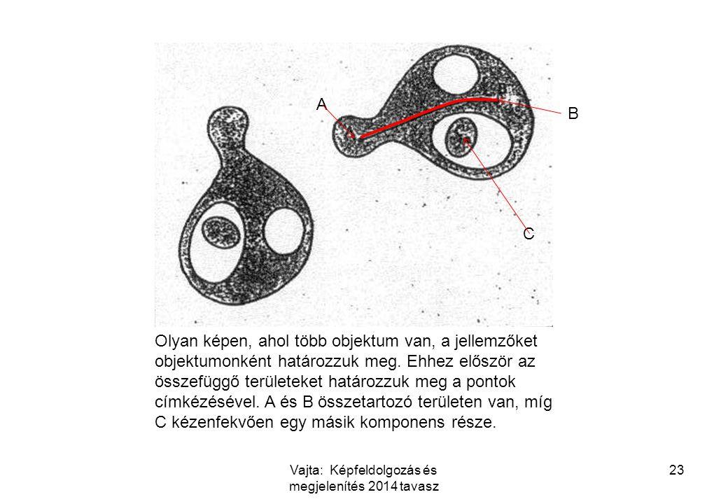 Vajta: Képfeldolgozás és megjelenítés 2014 tavasz 23 A B Olyan képen, ahol több objektum van, a jellemzőket objektumonként határozzuk meg.