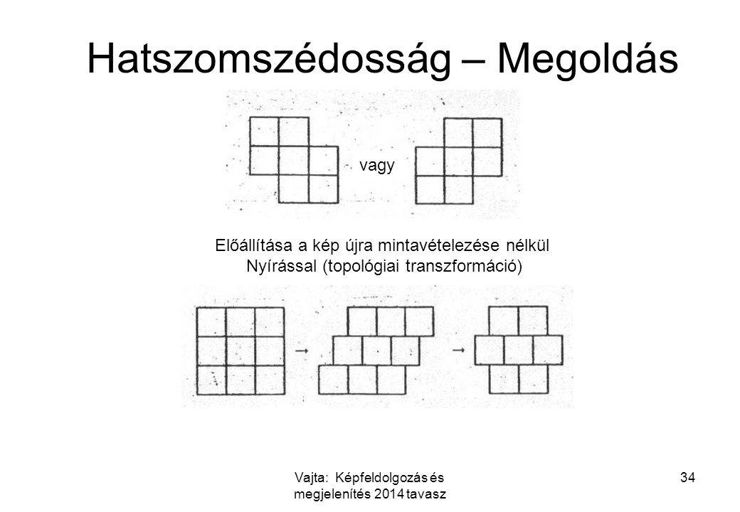 Vajta: Képfeldolgozás és megjelenítés 2014 tavasz 34 Hatszomszédosság – Megoldás vagy Előállítása a kép újra mintavételezése nélkül Nyírással (topológiai transzformáció)