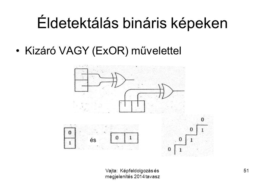 Vajta: Képfeldolgozás és megjelenítés 2014 tavasz 51 Éldetektálás bináris képeken Kizáró VAGY (ExOR) művelettel és