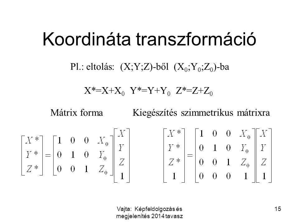 Vajta: Képfeldolgozás és megjelenítés 2014 tavasz 15 Koordináta transzformáció Pl.: eltolás: (X;Y;Z)-ből (X 0 ;Y 0 ;Z 0 )-ba X*=X+X 0 Y*=Y+Y 0 Z*=Z+Z 0 Mátrix forma Kiegészítés szimmetrikus mátrixra