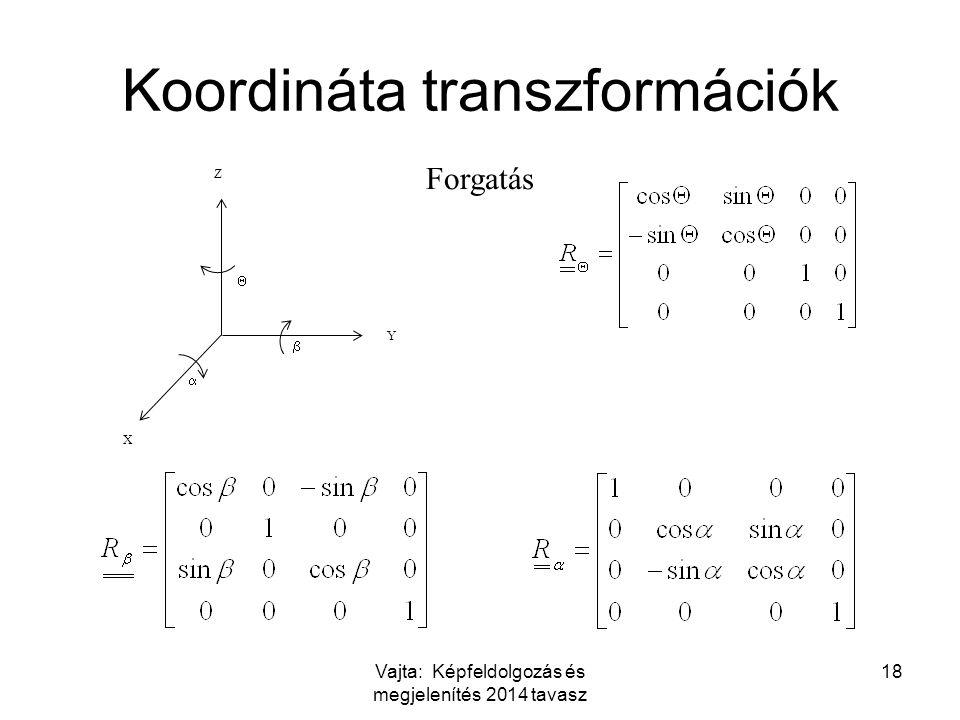 Vajta: Képfeldolgozás és megjelenítés 2014 tavasz 18 Koordináta transzformációk Z Y X    Forgatás