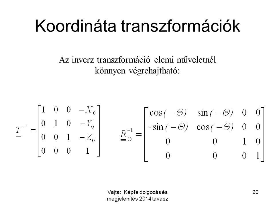 Vajta: Képfeldolgozás és megjelenítés 2014 tavasz 20 Az inverz transzformáció elemi műveletnél könnyen végrehajtható: Koordináta transzformációk