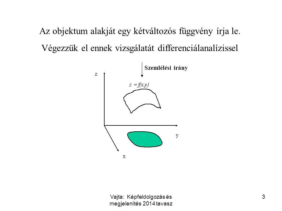 Vajta: Képfeldolgozás és megjelenítés 2014 tavasz 3 Az objektum alakját egy kétváltozós függvény írja le. Végezzük el ennek vizsgálatát differenciálan