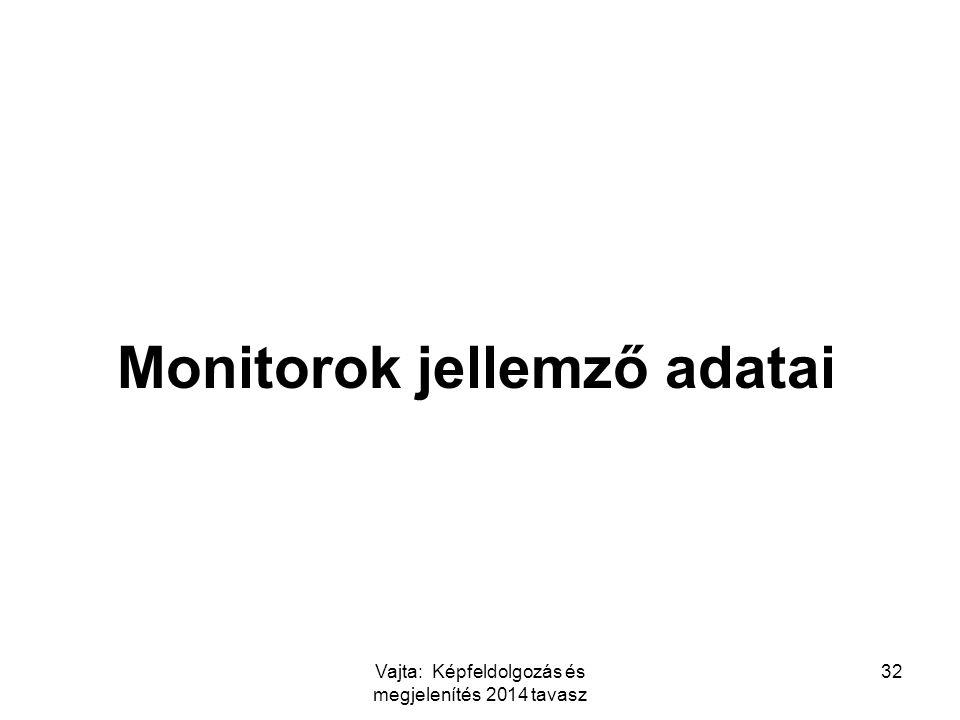 Vajta: Képfeldolgozás és megjelenítés 2014 tavasz 32 Monitorok jellemző adatai