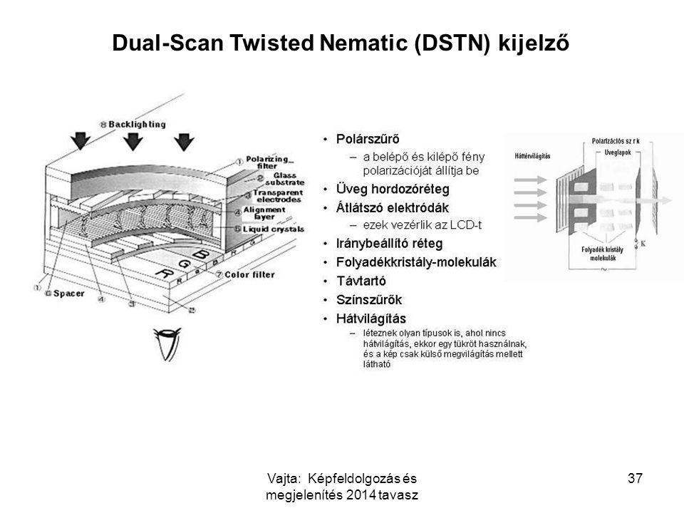 Vajta: Képfeldolgozás és megjelenítés 2014 tavasz 37 Dual-Scan Twisted Nematic (DSTN) kijelző