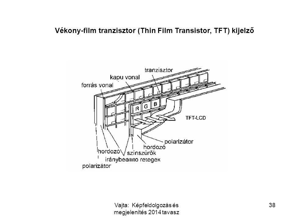 Vajta: Képfeldolgozás és megjelenítés 2014 tavasz 38 Vékony-film tranzisztor (Thin Film Transistor, TFT) kijelző