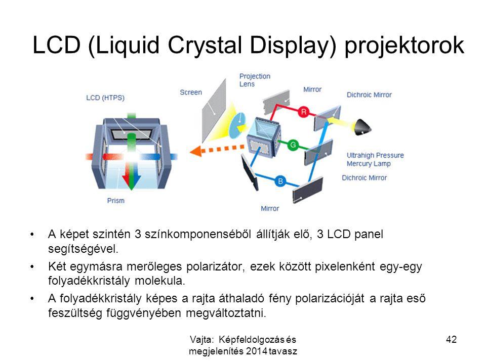Vajta: Képfeldolgozás és megjelenítés 2014 tavasz 42 LCD (Liquid Crystal Display) projektorok A képet szintén 3 színkomponenséből állítják elő, 3 LCD panel segítségével.