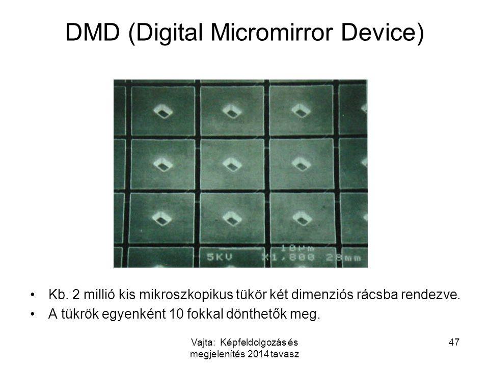 Vajta: Képfeldolgozás és megjelenítés 2014 tavasz 47 DMD (Digital Micromirror Device) Kb. 2 millió kis mikroszkopikus tükör két dimenziós rácsba rende