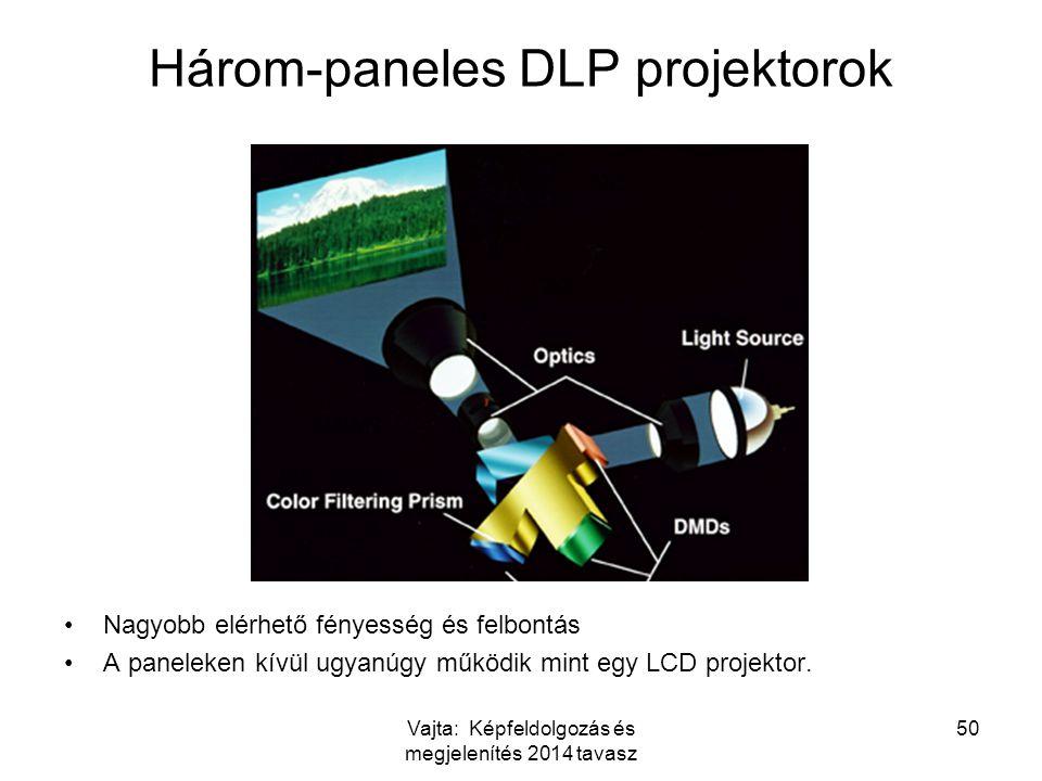 Vajta: Képfeldolgozás és megjelenítés 2014 tavasz 50 Három-paneles DLP projektorok Nagyobb elérhető fényesség és felbontás A paneleken kívül ugyanúgy működik mint egy LCD projektor.