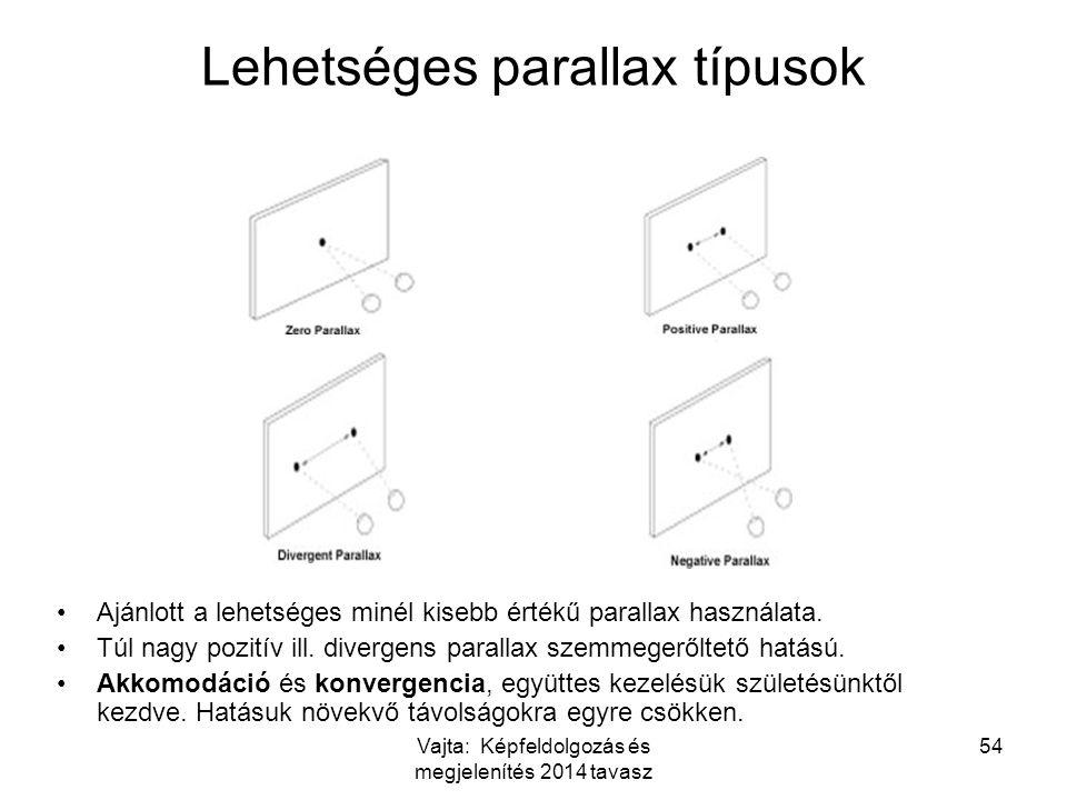 Vajta: Képfeldolgozás és megjelenítés 2014 tavasz 54 Lehetséges parallax típusok Ajánlott a lehetséges minél kisebb értékű parallax használata. Túl na