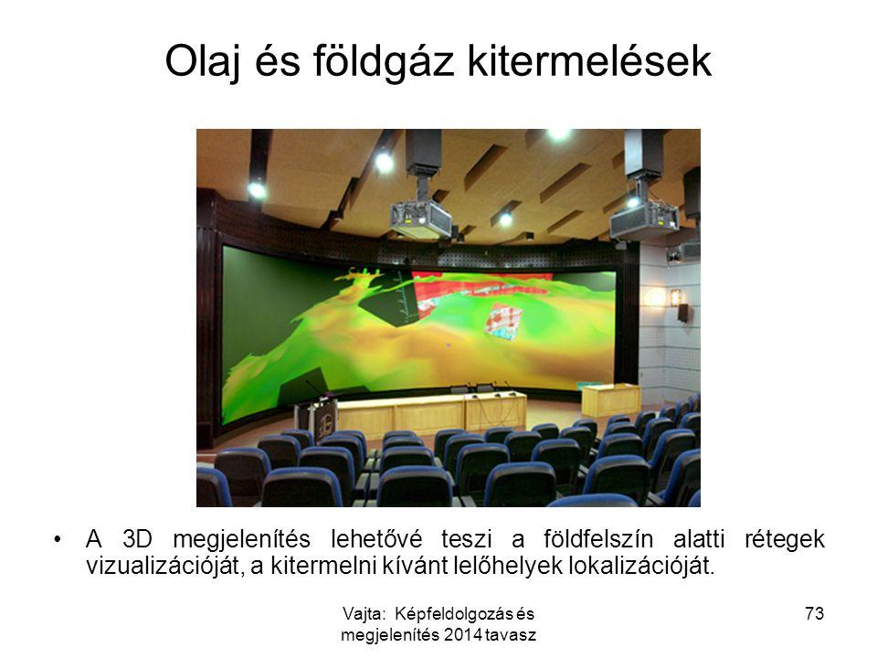 Vajta: Képfeldolgozás és megjelenítés 2014 tavasz 73 Olaj és földgáz kitermelések A 3D megjelenítés lehetővé teszi a földfelszín alatti rétegek vizual