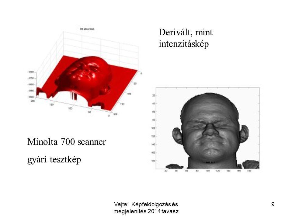 Vajta: Képfeldolgozás és megjelenítés 2014 tavasz 9 Minolta 700 scanner gyári tesztkép Derivált, mint intenzitáskép