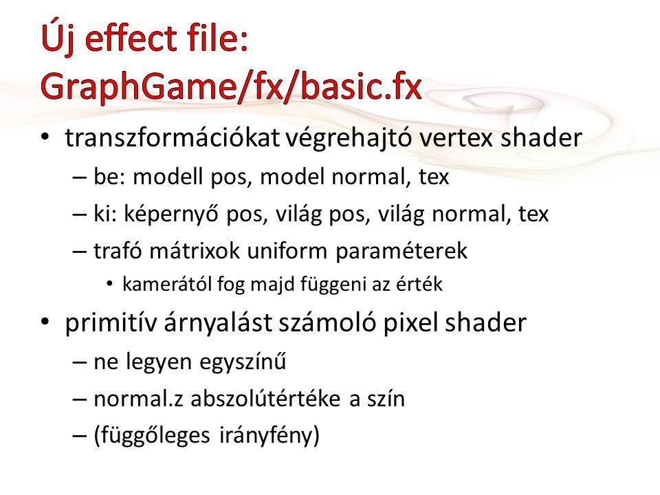 transzformációkat végrehajtó vertex shader – be: modell pos, model normal, tex – ki: képernyő pos, világ pos, világ normal, tex – trafó mátrixok uniform paraméterek kamerától fog majd függeni az érték primitív árnyalást számoló pixel shader – ne legyen egyszínű – normal.z abszolútértéke a szín – (függőleges irányfény)