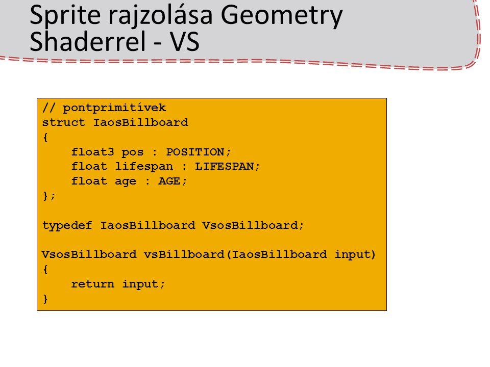Sprite rajzolása Geometry Shaderrel - VS // pontprimitívek struct IaosBillboard { float3 pos : POSITION; float lifespan : LIFESPAN; float age : AGE; }; typedef IaosBillboard VsosBillboard; VsosBillboard vsBillboard(IaosBillboard input) { return input; }