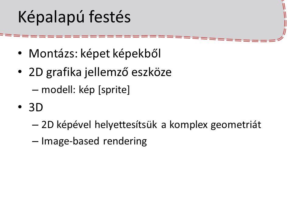 Képalapú festés Montázs: képet képekből 2D grafika jellemző eszköze – modell: kép [sprite] 3D – 2D képével helyettesítsük a komplex geometriát – Image-based rendering