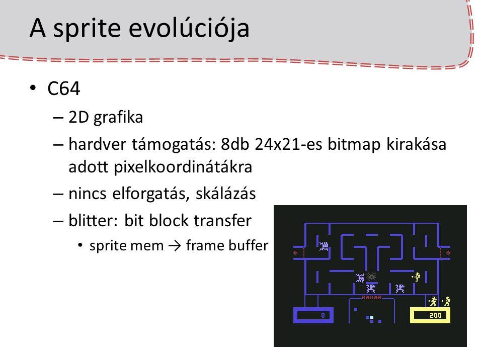 A sprite evolúciója C64 – 2D grafika – hardver támogatás: 8db 24x21-es bitmap kirakása adott pixelkoordinátákra – nincs elforgatás, skálázás – blitter: bit block transfer sprite mem → frame buffer