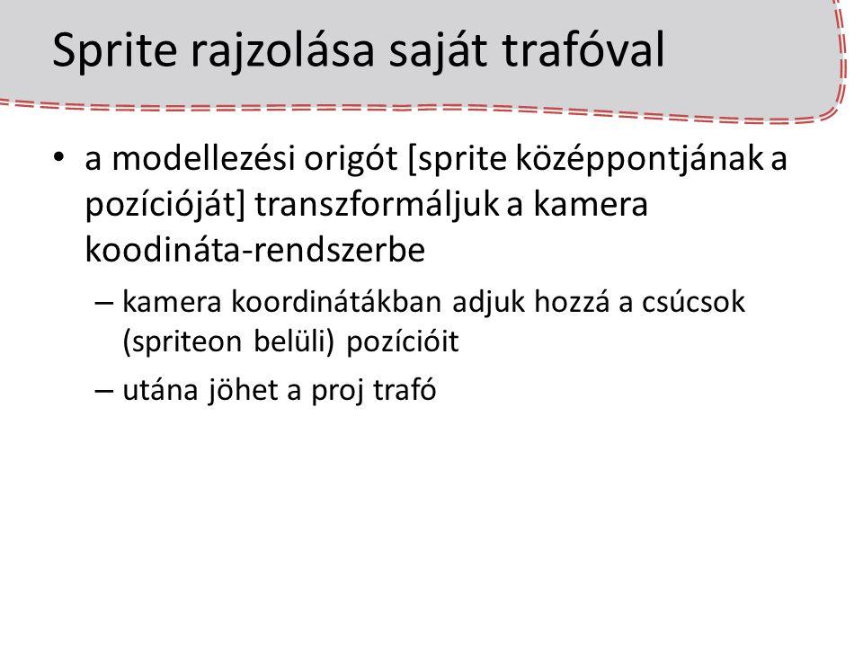 Részecskerendszer és pontprimitívek class Particle { Egg::Math::float3 position; Egg::Math::float3 velocity; float lifespan; float age; void reborn() { /*init, emitter logika*/ } void move(float dt) { position += velocity * dt; age += dt; if(age > lifespan) reborn(); } }; std::vector particles; Egg::Mesh::Shaded::P fireBillboardSet;