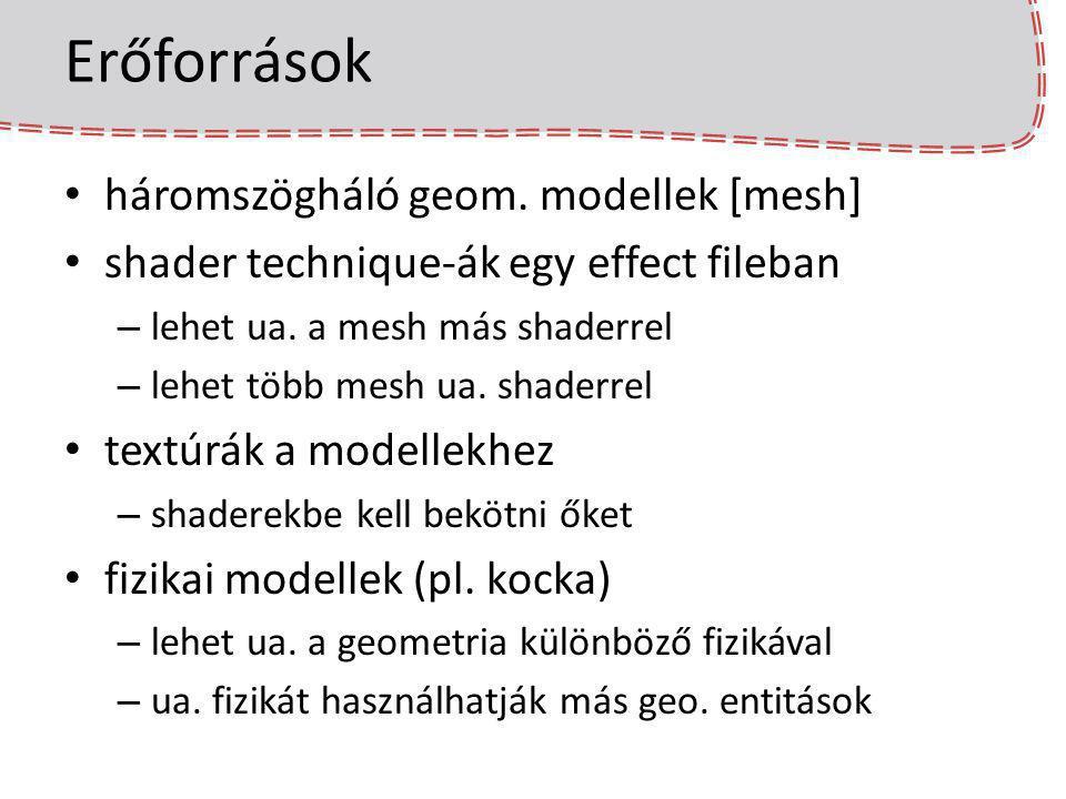 Erőforrások háromszögháló geom. modellek [mesh] shader technique-ák egy effect fileban – lehet ua. a mesh más shaderrel – lehet több mesh ua. shaderre