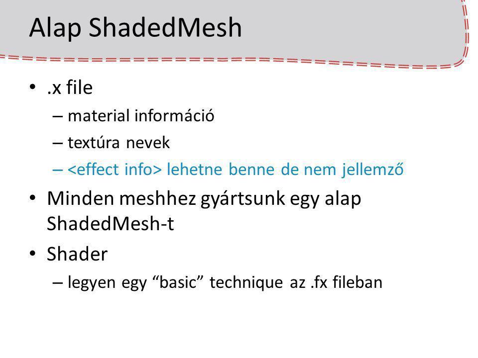 Alap ShadedMesh.x file – material információ – textúra nevek – lehetne benne de nem jellemző Minden meshhez gyártsunk egy alap ShadedMesh-t Shader – l