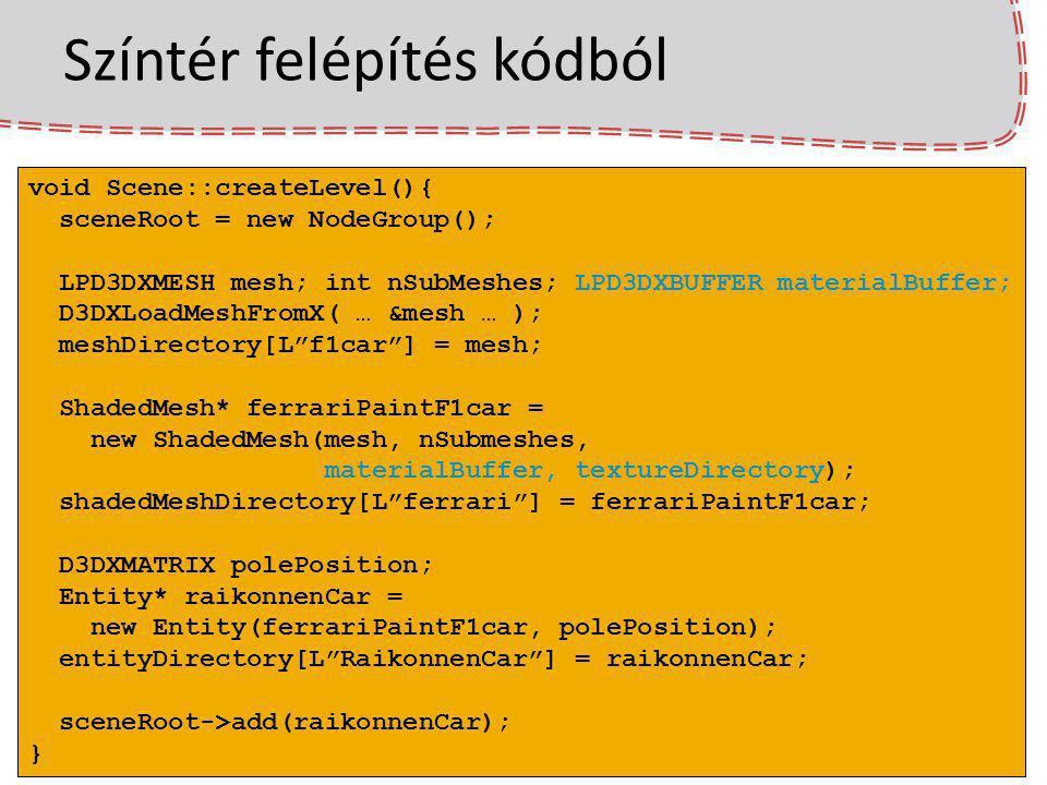 Színtér felépítés kódból void Scene::createLevel(){ sceneRoot = new NodeGroup(); LPD3DXMESH mesh; int nSubMeshes; LPD3DXBUFFER materialBuffer; D3DXLoa