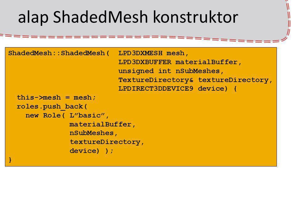 alap ShadedMesh konstruktor ShadedMesh::ShadedMesh( LPD3DXMESH mesh, LPD3DXBUFFER materialBuffer, unsigned int nSubMeshes, TextureDirectory& textureDi