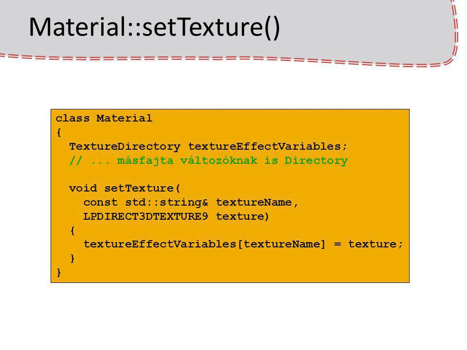 Material::setTexture() class Material { TextureDirectory textureEffectVariables; //... másfajta változóknak is Directory void setTexture( const std::s