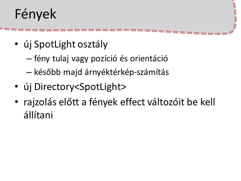 Fények új SpotLight osztály – fény tulaj vagy pozíció és orientáció – később majd árnyéktérkép-számítás új Directory rajzolás előtt a fények effect vá