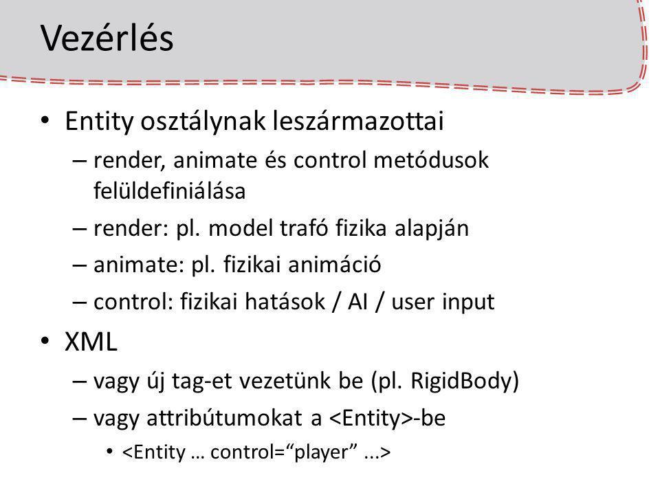 Vezérlés Entity osztálynak leszármazottai – render, animate és control metódusok felüldefiniálása – render: pl. model trafó fizika alapján – animate: