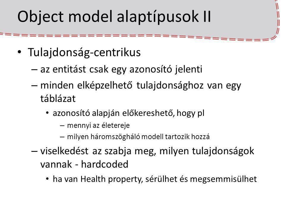 Object model alaptípusok II Tulajdonság-centrikus – az entitást csak egy azonosító jelenti – minden elképzelhető tulajdonsághoz van egy táblázat azono