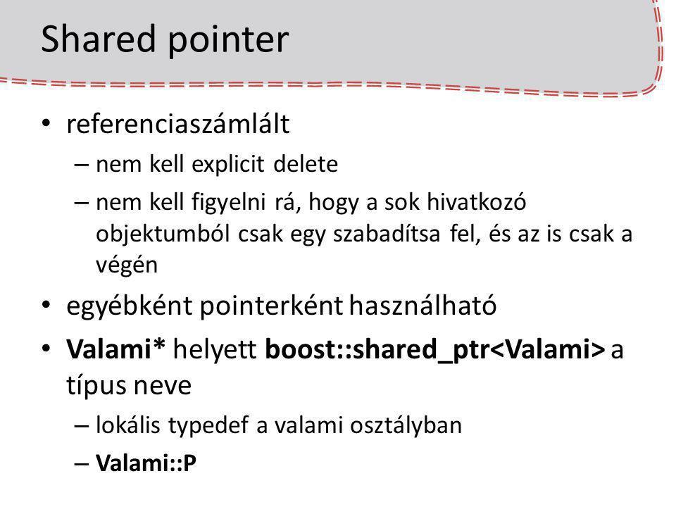 Shared pointer referenciaszámlált – nem kell explicit delete – nem kell figyelni rá, hogy a sok hivatkozó objektumból csak egy szabadítsa fel, és az i