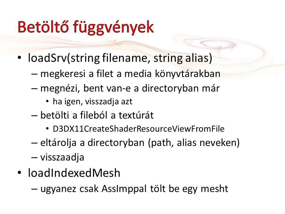 loadSrv(string filename, string alias) – megkeresi a filet a media könyvtárakban – megnézi, bent van-e a directoryban már ha igen, visszadja azt – betölti a fileból a textúrát D3DX11CreateShaderResourceViewFromFile – eltárolja a directoryban (path, alias neveken) – visszaadja loadIndexedMesh – ugyanez csak AssImppal tölt be egy mesht