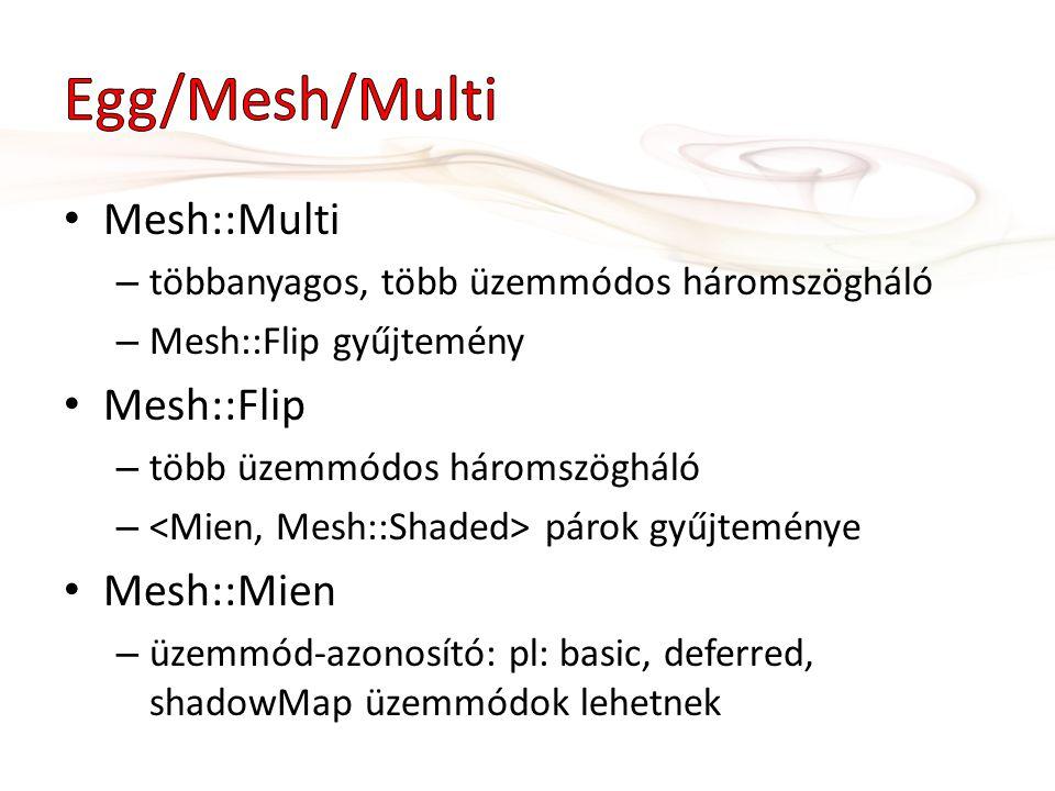 Mesh::Multi – többanyagos, több üzemmódos háromszögháló – Mesh::Flip gyűjtemény Mesh::Flip – több üzemmódos háromszögháló – párok gyűjteménye Mesh::Mien – üzemmód-azonosító: pl: basic, deferred, shadowMap üzemmódok lehetnek
