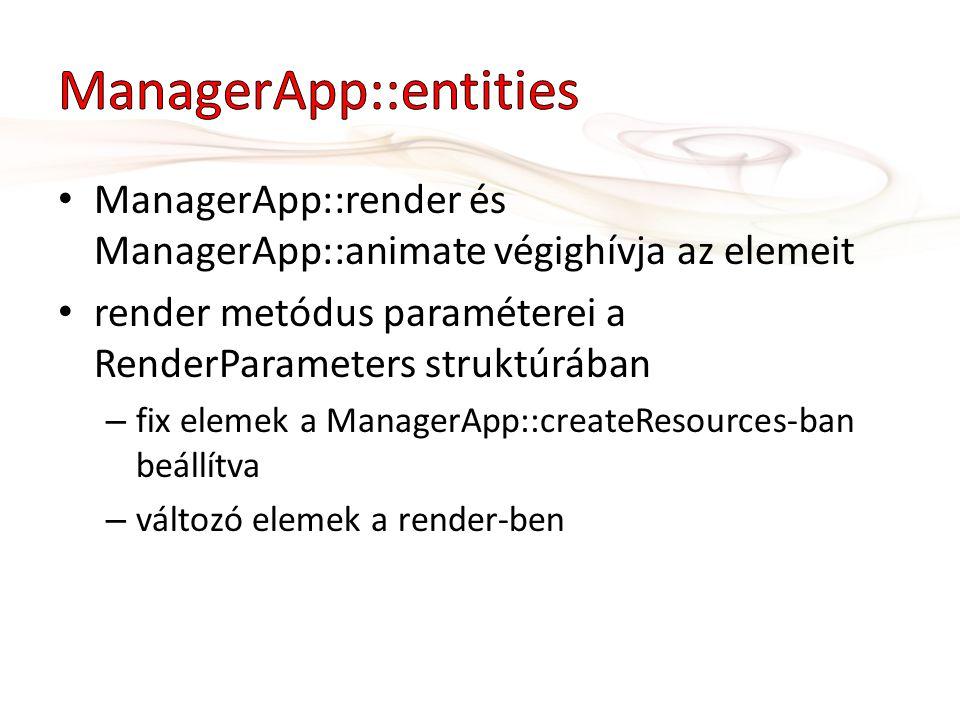 ManagerApp::render és ManagerApp::animate végighívja az elemeit render metódus paraméterei a RenderParameters struktúrában – fix elemek a ManagerApp::createResources-ban beállítva – változó elemek a render-ben
