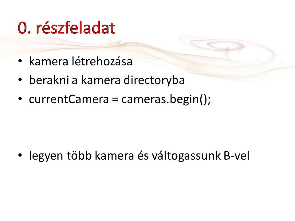 kamera létrehozása berakni a kamera directoryba currentCamera = cameras.begin(); legyen több kamera és váltogassunk B-vel