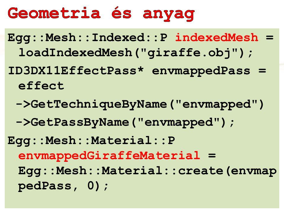 Egg::Mesh::Indexed::P indexedMesh = loadIndexedMesh( giraffe.obj ); ID3DX11EffectPass* envmappedPass = effect ->GetTechniqueByName( envmapped ) ->GetPassByName( envmapped ); Egg::Mesh::Material::P envmappedGiraffeMaterial = Egg::Mesh::Material::create(envmap pedPass, 0);
