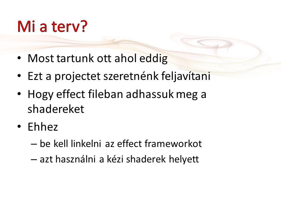Most tartunk ott ahol eddig Ezt a projectet szeretnénk feljavítani Hogy effect fileban adhassuk meg a shadereket Ehhez – be kell linkelni az effect frameworkot – azt használni a kézi shaderek helyett