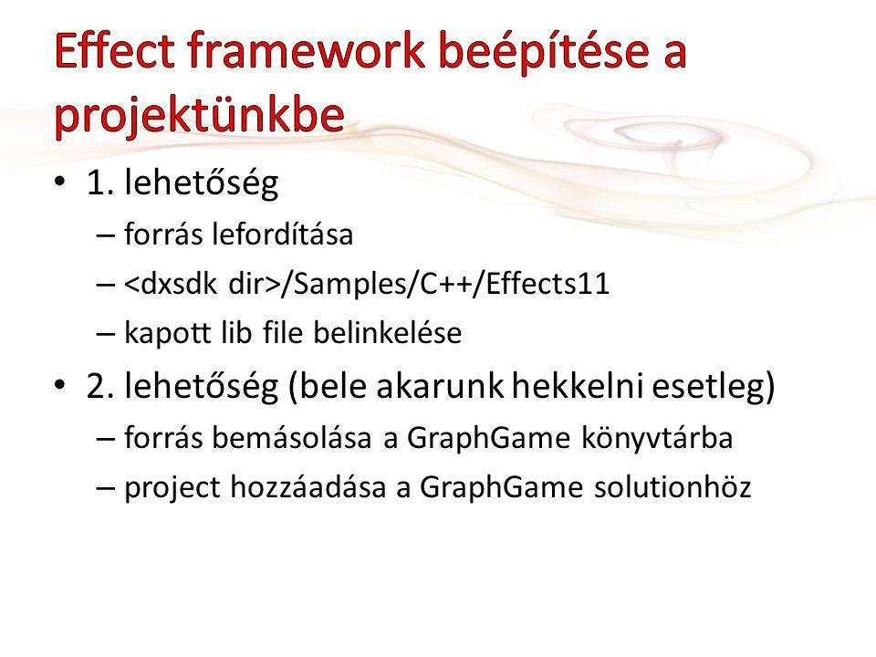 1.lehetőség – forrás lefordítása – /Samples/C++/Effects11 – kapott lib file belinkelése 2.