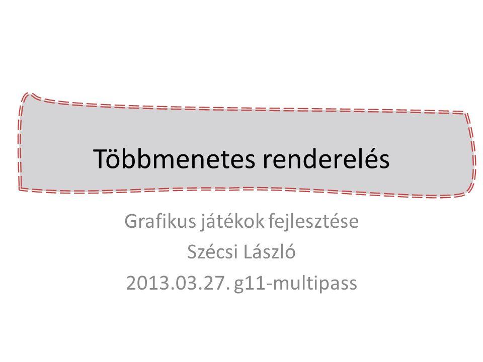 Direct3D - render context->OMSetRenderTargets( 1, &rtv, NULL ); // rajzolás textúrába, draw hívások context->OMSetRenderTargets( 1, &defaultRtv, defaultDsv); effect->getVariableByName( texture )- >AsShaderResource()->SetResource(srv); // rajzolás frame bufferbe, draw hívások