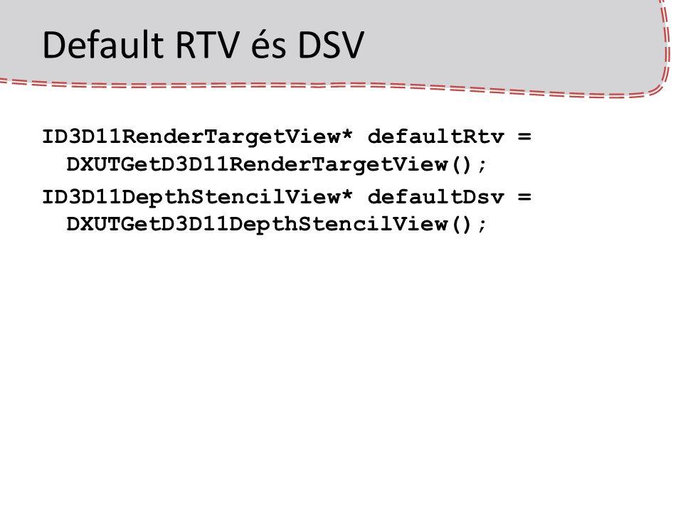 Default RTV és DSV ID3D11RenderTargetView* defaultRtv = DXUTGetD3D11RenderTargetView(); ID3D11DepthStencilView* defaultDsv = DXUTGetD3D11DepthStencilV
