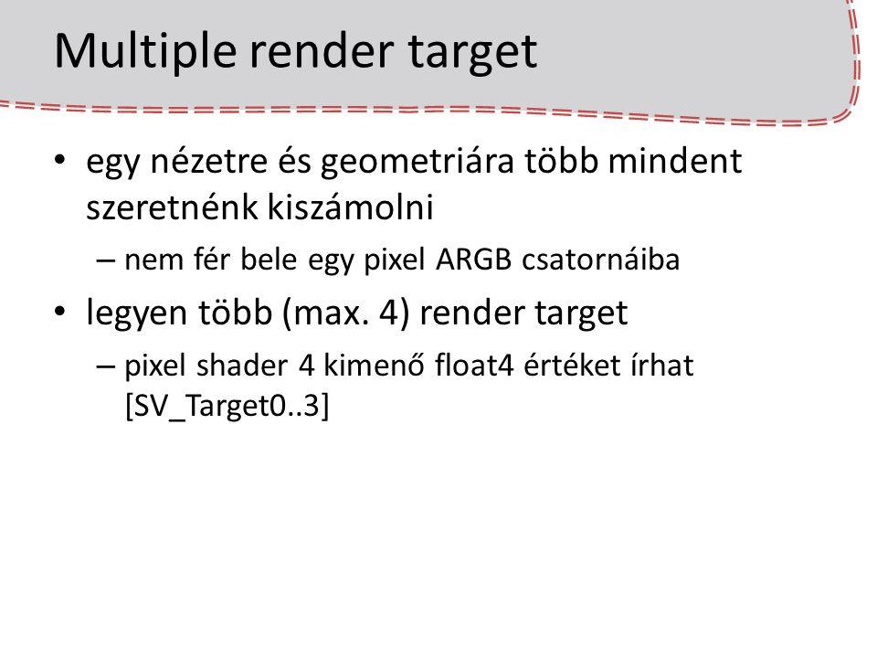 Multiple render target egy nézetre és geometriára több mindent szeretnénk kiszámolni – nem fér bele egy pixel ARGB csatornáiba legyen több (max. 4) re
