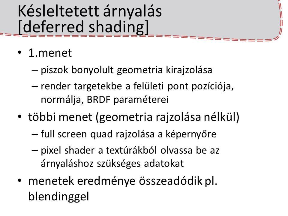 Késleltetett árnyalás [deferred shading] 1.menet – piszok bonyolult geometria kirajzolása – render targetekbe a felületi pont pozíciója, normálja, BRD