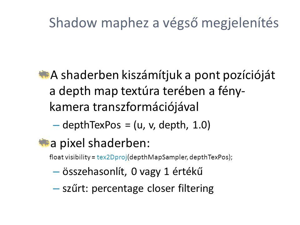 Shadow maphez a végső megjelenítés A shaderben kiszámítjuk a pont pozícióját a depth map textúra terében a fény- kamera transzformációjával – depthTex