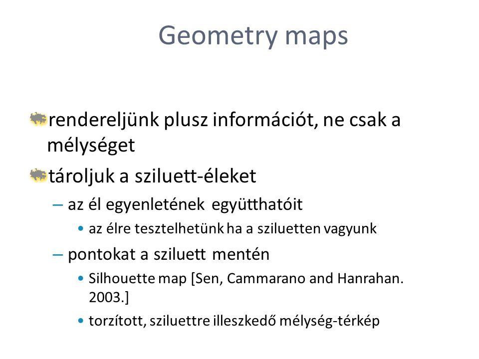 Geometry maps rendereljünk plusz információt, ne csak a mélységet tároljuk a sziluett-éleket – az él egyenletének együtthatóit az élre tesztelhetünk h