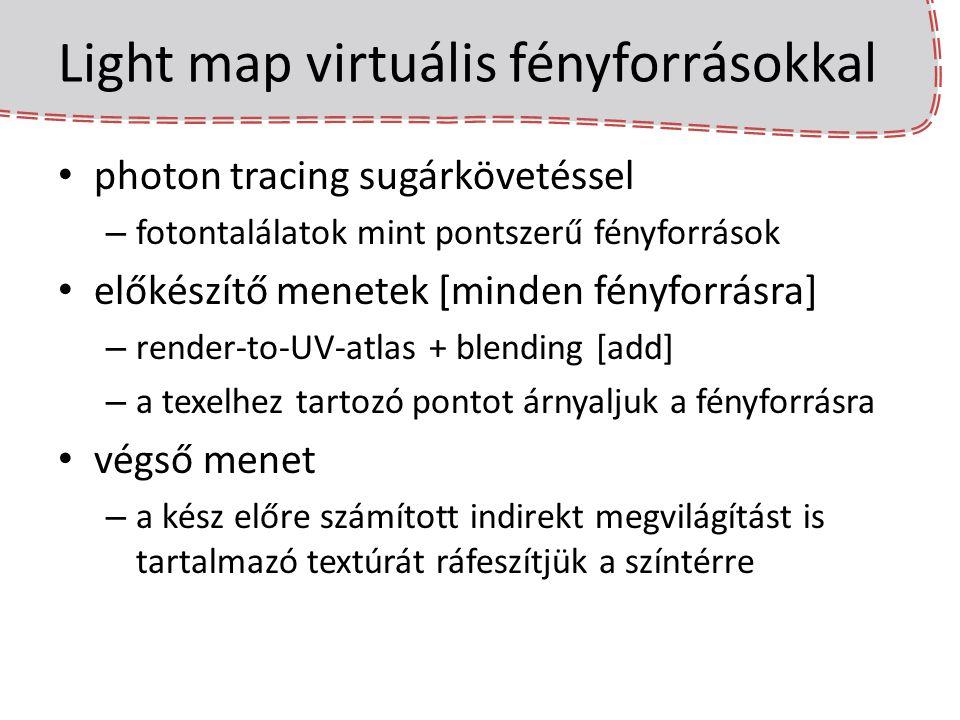 Light map virtuális fényforrásokkal photon tracing sugárkövetéssel – fotontalálatok mint pontszerű fényforrások előkészítő menetek [minden fényforrásr